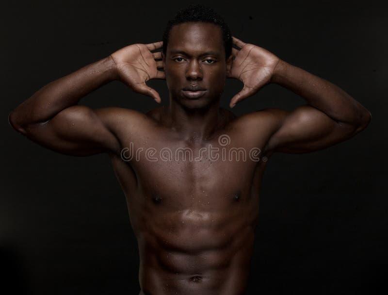 Homme sexy d'Afro-américain avec des mains à la tête photos stock