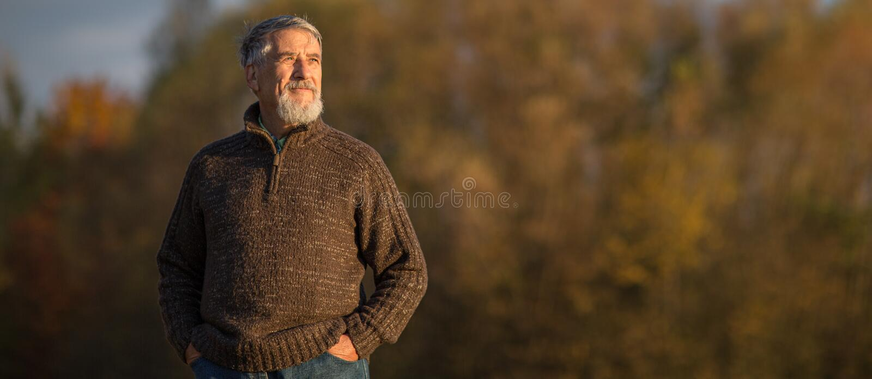 Portrait d'un homme sup?rieur dehors, marchant en parc photos libres de droits