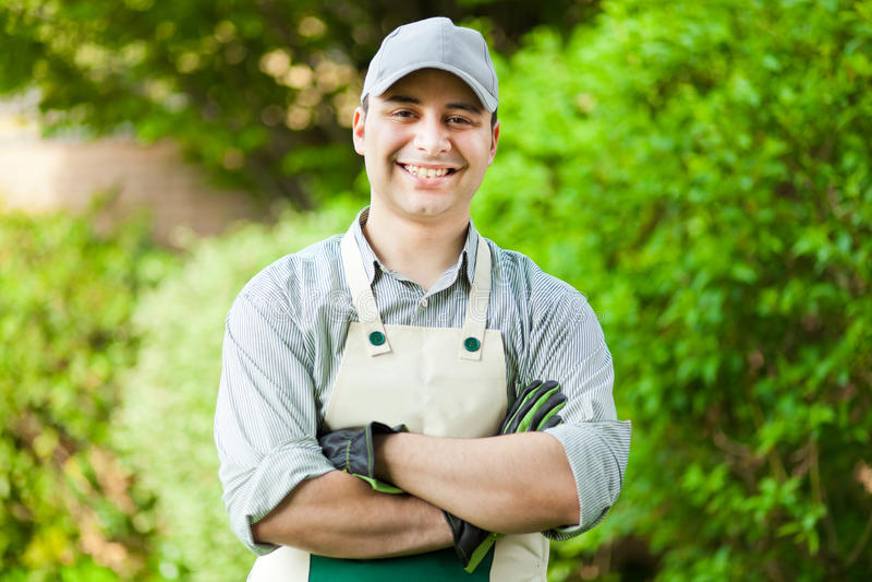 Portrait d'un jardinier professionnel photographie stock