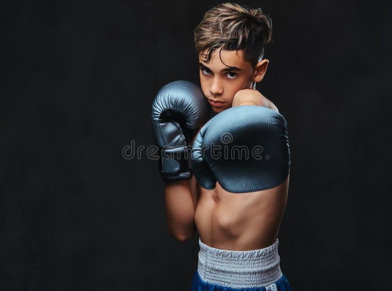 Portrait d'un jeune des gants de port boxeur sans chemise beau D'isolement sur un fond foncé photo libre de droits