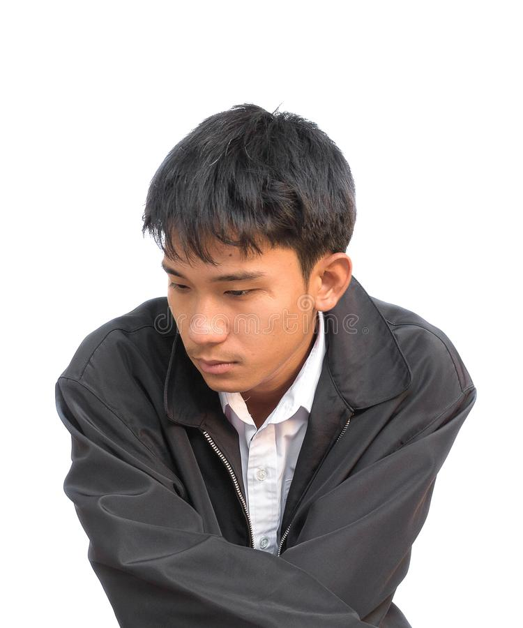 Portrait d'un jeune homme à déçu sur le fond blanc image libre de droits
