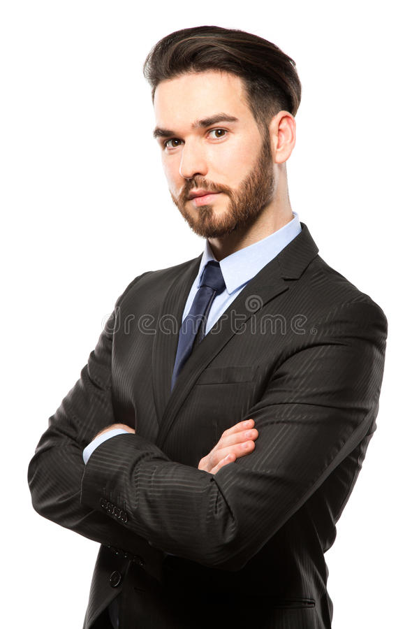 Portrait d'un jeune homme de sourire d'affaires, d'isolement sur le blanc photos libres de droits