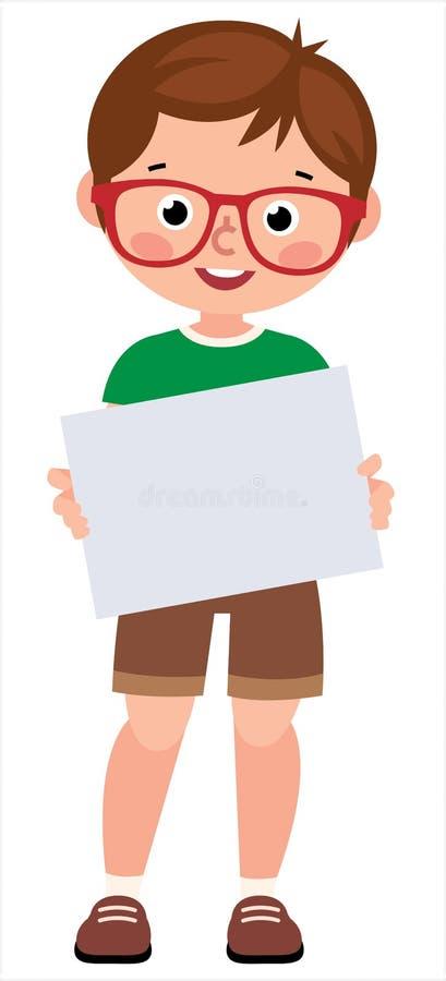 Portrait d'un jeune petit garçon tenant un livre blanc de signe de blanc illustration stock