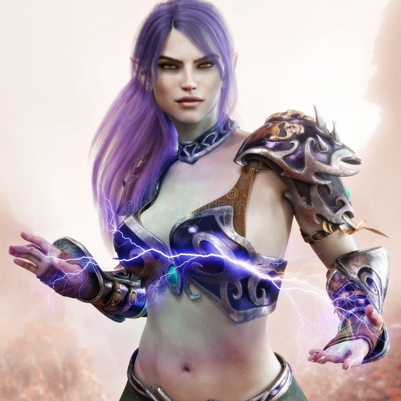 Portrait d'un magicien féminin d'elfe foncé d'imagination montrant sa puissance mystique illustration de vecteur