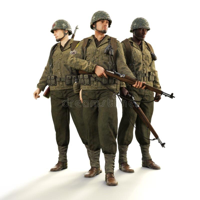 Portrait d'un peloton des soldats américains de combat de la guerre mondiale 2 en uniforme sur un fond blanc d'isolement illustration libre de droits