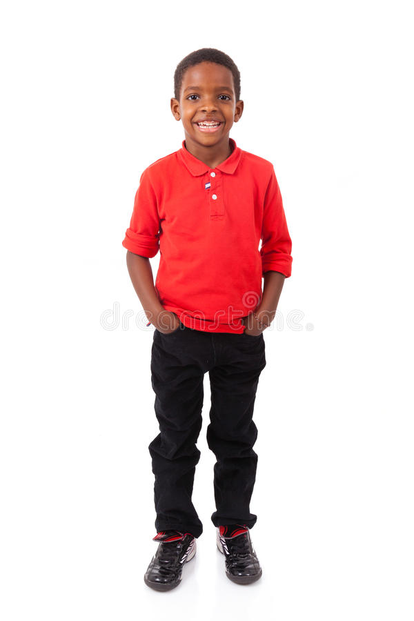 Portrait d'un petit garçon d'afro-américain mignon souriant, d'isolement photos libres de droits