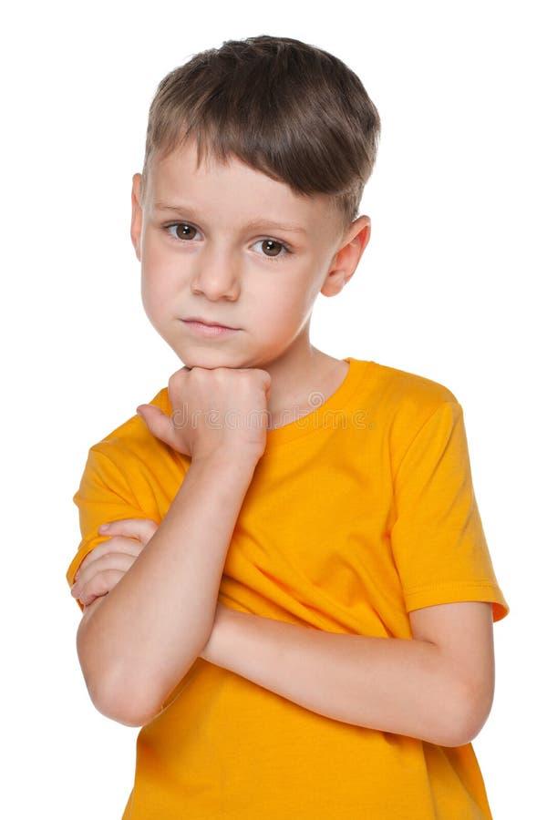 Portrait d'un petit garçon de renversement photo stock
