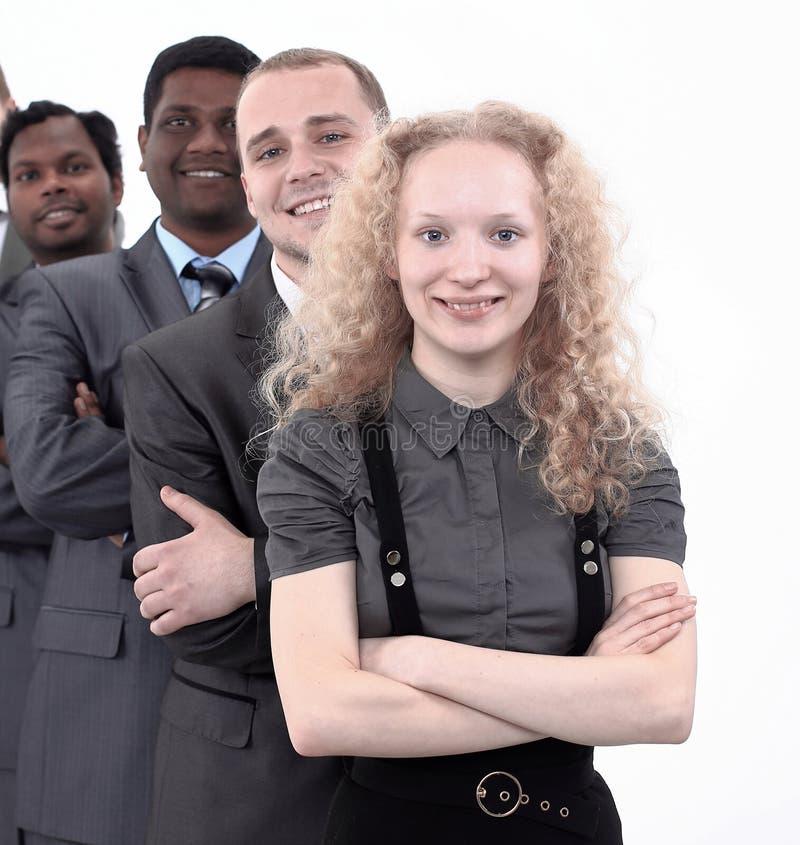 Portrait d'un sourire d'employés de bureau de femme et d'homme image libre de droits