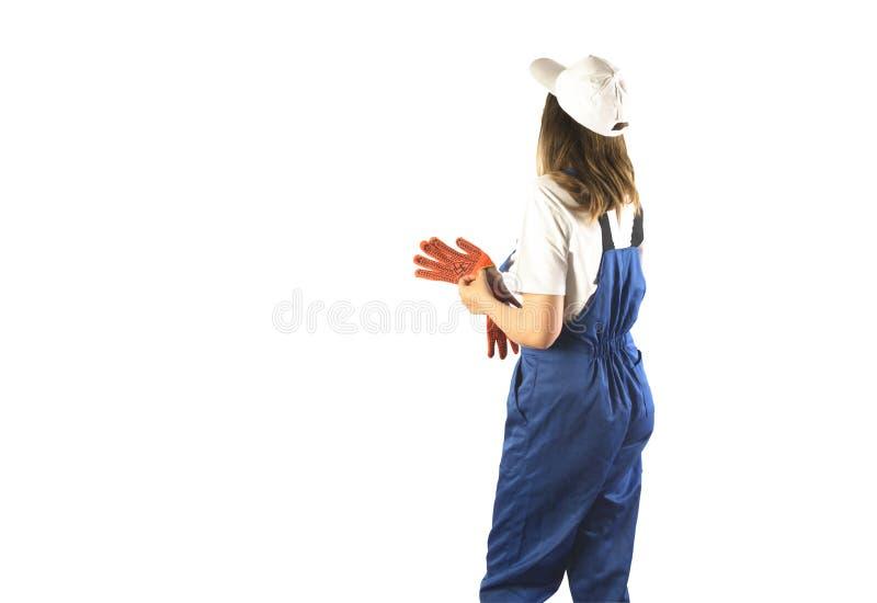Portrait d'un travailleur sur l'isolement blanc photo stock
