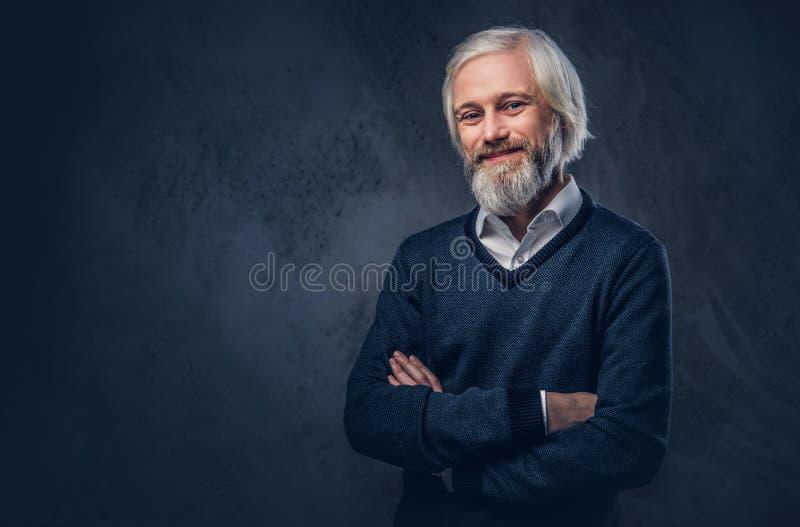 Portrait d'un vieil homme avec une barbe grise image libre de droits