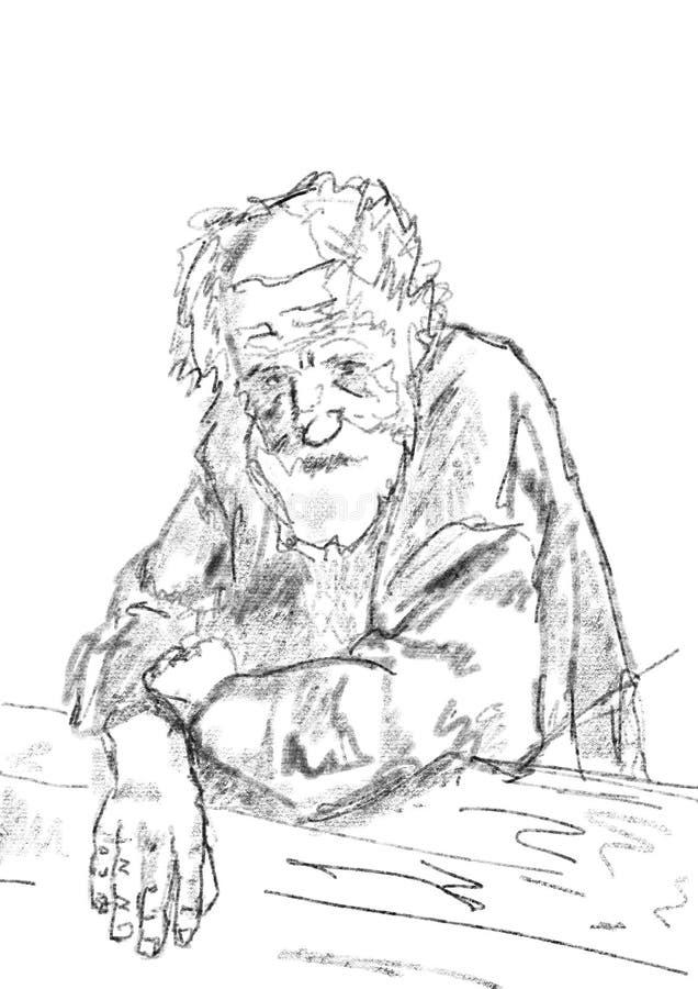 Portrait d'un vieil homme rural dans une chemise illustration stock