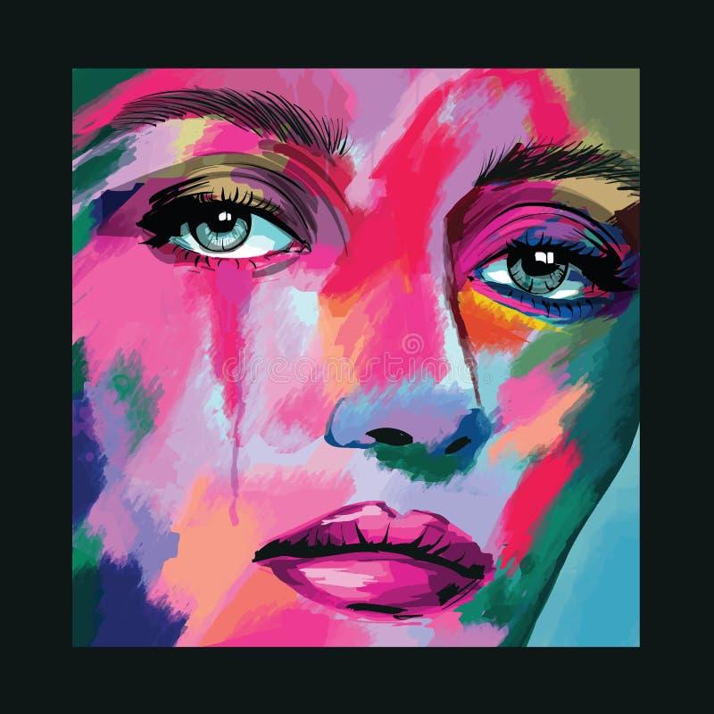 Portrait d'un visage de femme illustration de vecteur