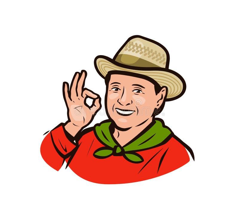 Portrait d'une agricultrice heureuse Agriculture, concept agricole Illustration vectorielle illustration libre de droits