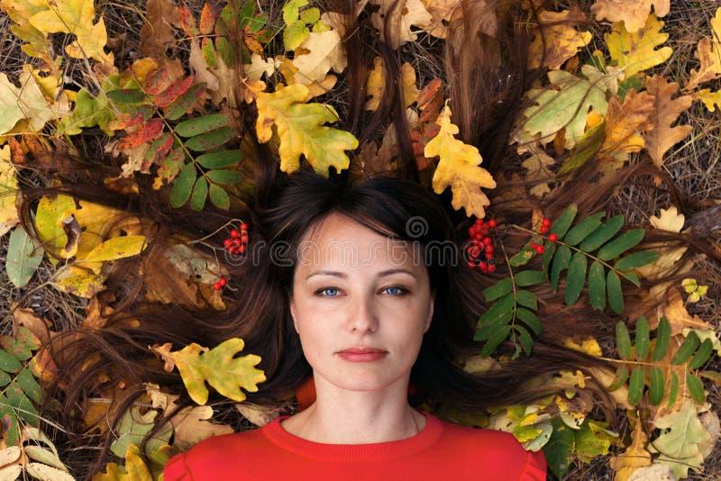 Portrait d'une belle brune en parc d'automne image libre de droits