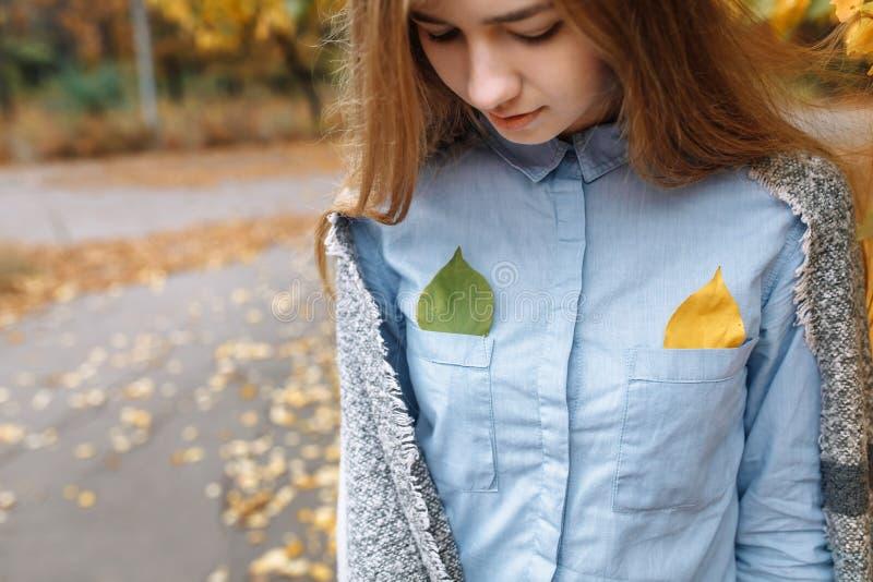 Portrait d'une belle, douce, gaie fille qui marche en parc dans la saison d'automne images libres de droits