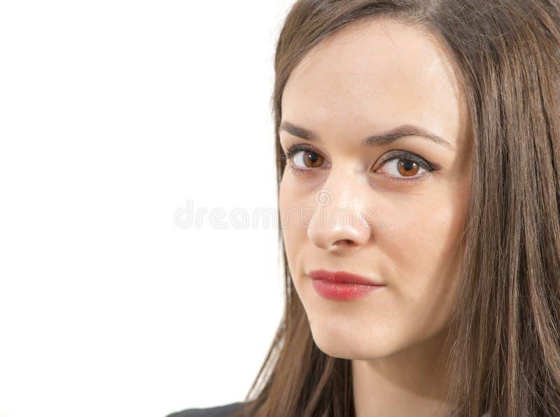 Portrait d'une belle femme d'affaires d'isolement au-dessus du blanc images libres de droits