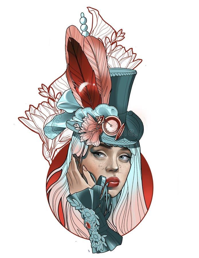 Portrait d'une belle fille dans un chapeau avec des plumes dans le style de steampunk illustration stock