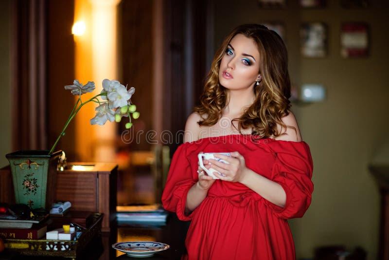 Portrait d'une belle fille sensuelle dans une robe rouge, tenant le C.A. photographie stock