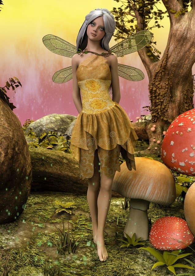 Portrait d'une fée dans un pré enchanté illustration stock