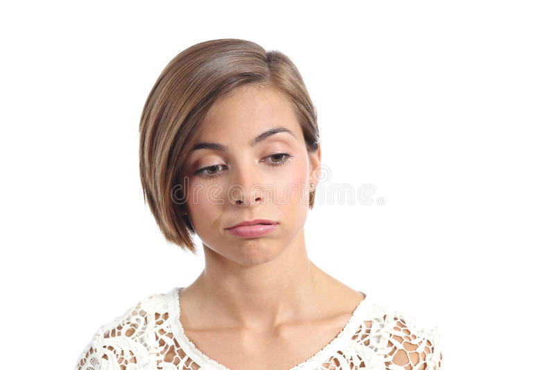 Portrait d'une femme avec l'expression ennuyée image stock