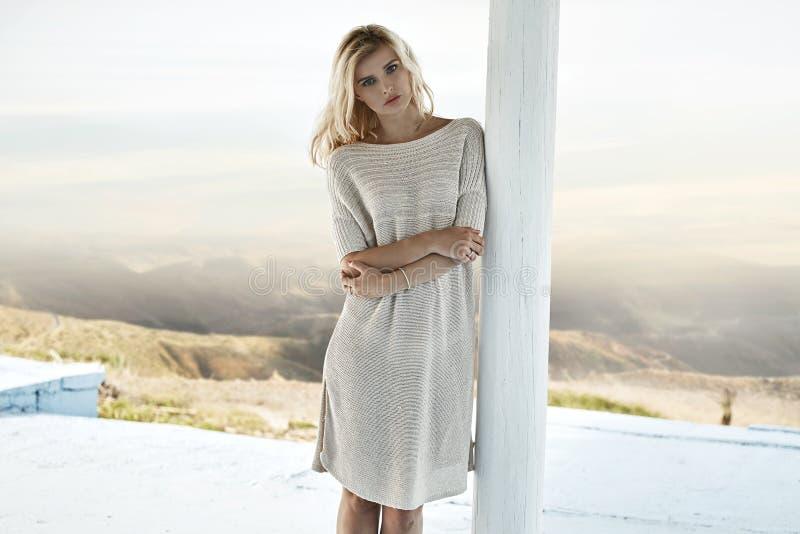 Portrait d'une femme blonde renversante images stock