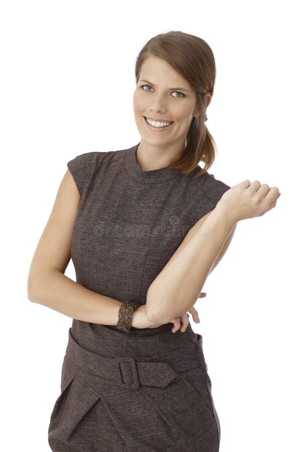 Portrait d'une femme d'affaires dans la robe photos stock