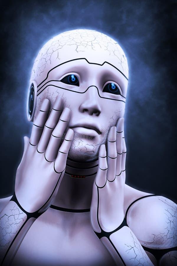 Portrait d'une femme de cyborg dépeignant un effroi illustration du rendu 3d illustration de vecteur