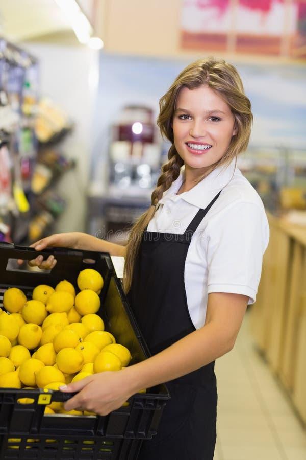 Download Portrait D'une Femme De Personnel Tenant Une Boîte Avec Légumes Frais Image stock - Image du bas, heureux: 56487849