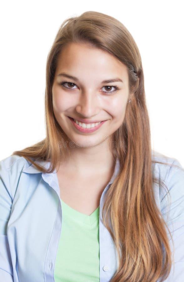Portrait d'une femme riante drôle avec les cheveux blonds photos libres de droits