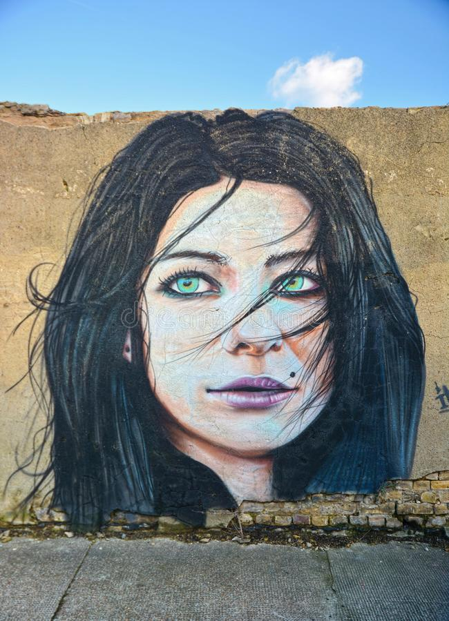 Portrait d'une femme Rue, art de mur photographie stock libre de droits