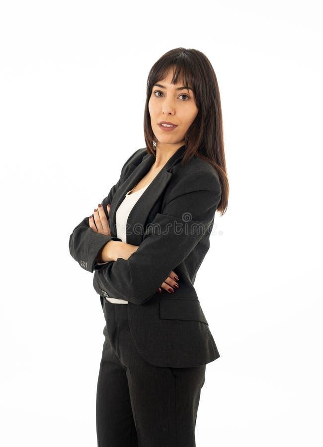 Portrait d'une femme sûre sérieuse d'affaires semblant réussie D'isolement sur le fond blanc photographie stock libre de droits