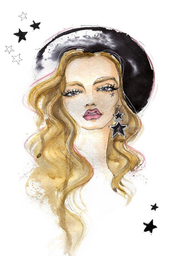 Portrait d'une fille à la mode avec des boucles d'oreille illustration stock