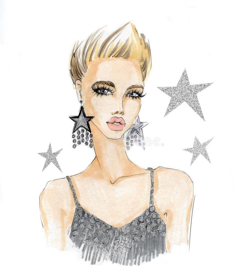 Portrait d'une fille à la mode avec des boucles d'oreille illustration de vecteur