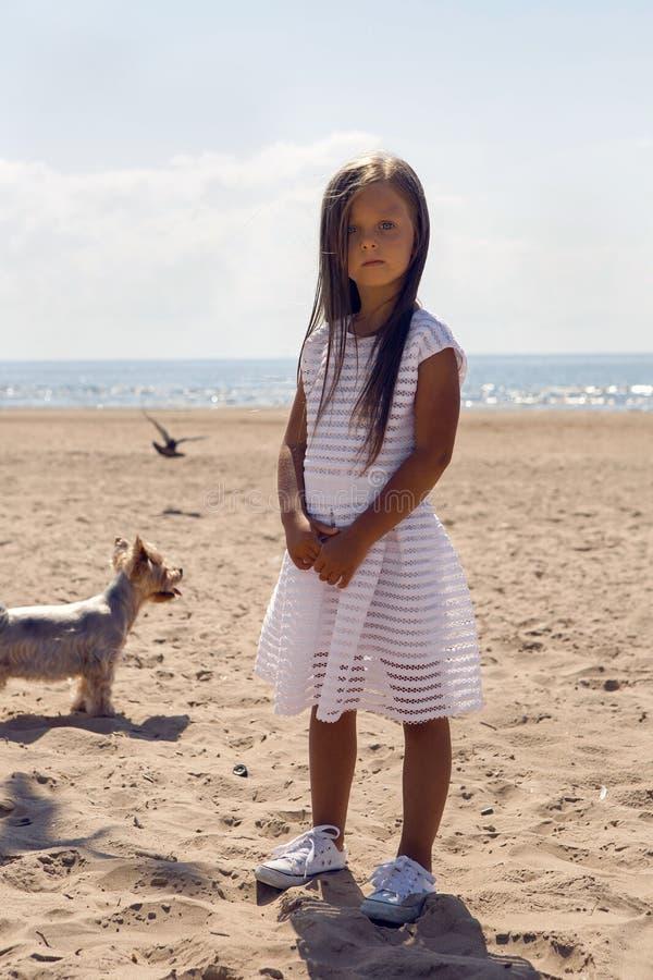Portrait d'une fille bronzée sur la plage sablonneuse images libres de droits