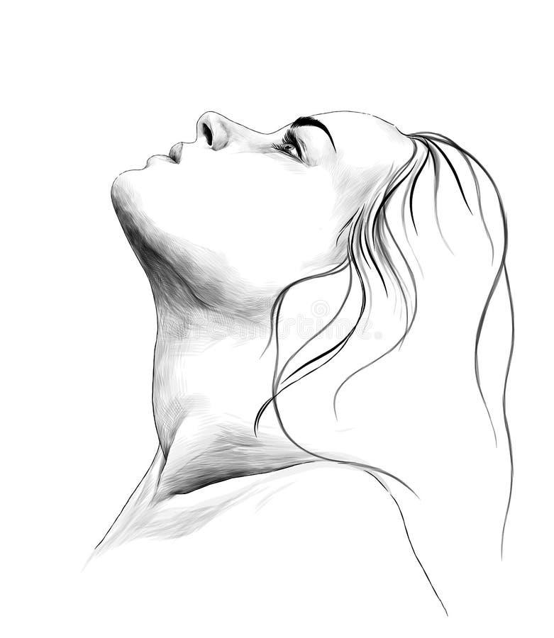 Portrait d'une fille dans le profil avec ses cheveux vers le bas et tête  illustration libre de droits