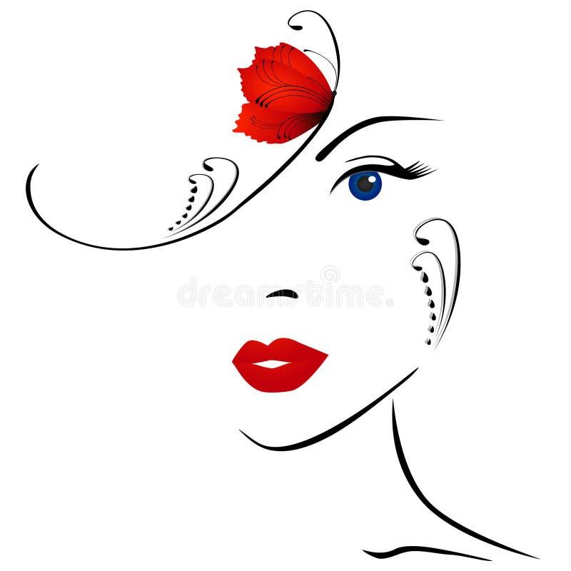 Portrait d'une fille dans un petit chapeau avec un papillon illustration stock