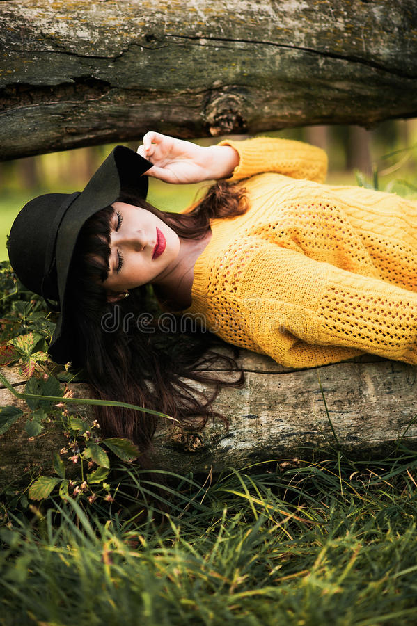 Portrait d'une fille heureuse et souriante de brunnete image stock