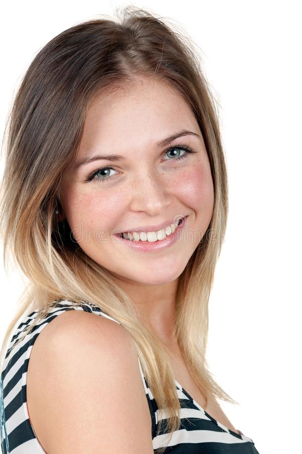 Portrait d'une fille magnifique d'adolescent avec un sourire attrayant images stock