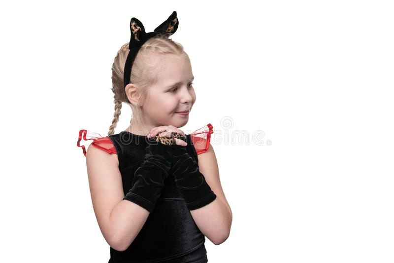 Portrait d'une fille mignonne de chat image libre de droits