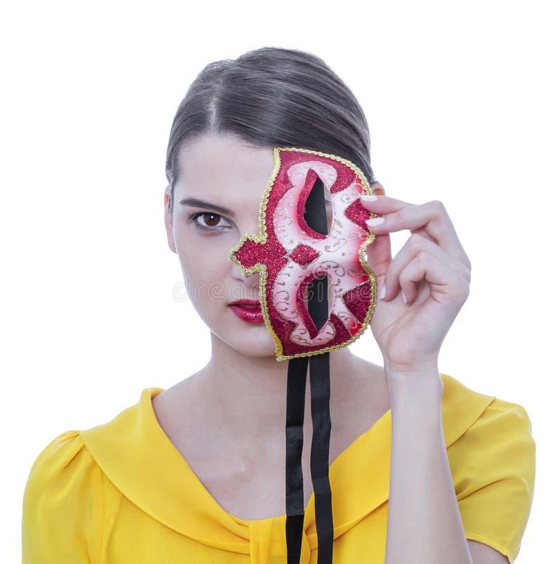 Portrait d'une jeune femme avec un masque images libres de droits