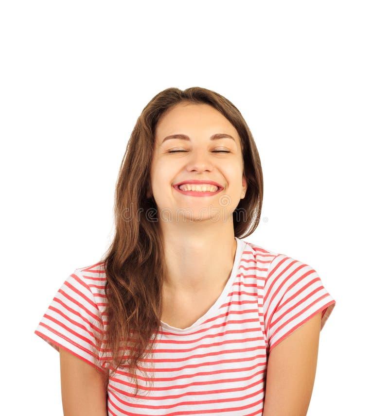 Portrait d'une jeune femme de sourire attirante de brune fille émotive de regard d'exultation d'isolement sur le fond blanc images stock