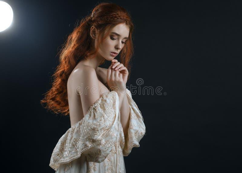 Portrait d'une jeune femme rousse dans une robe de cendre de vintage avec le dos nu et des épaules dans le clair de lune sur un f image stock