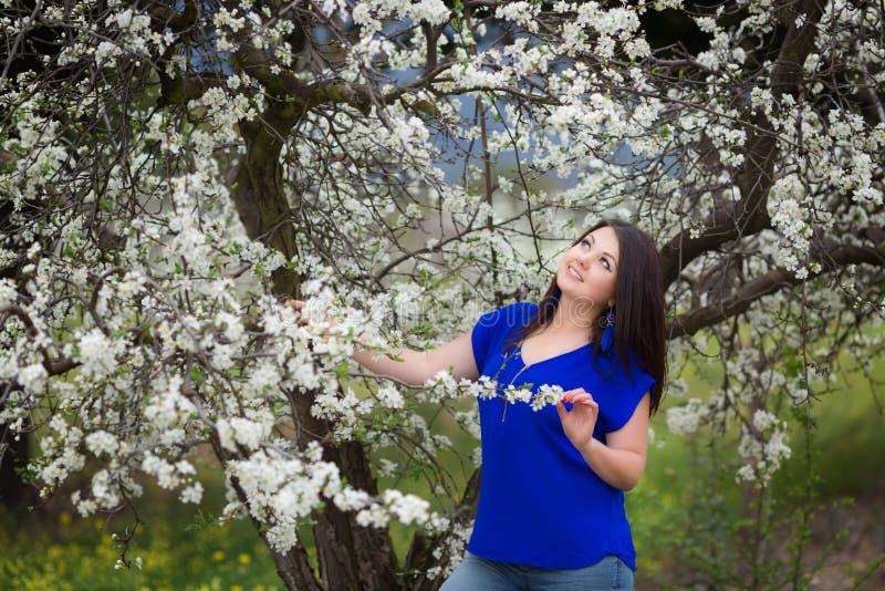 Portrait d'une jeune femme tenant un brunch de prunier de floraison dans le jardin, heureusement sourire, regardant le ciel image libre de droits