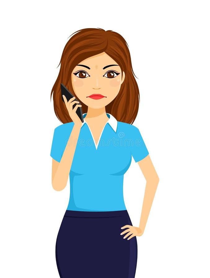 Portrait d'une jeune fille avec un téléphone portable La fille est fâchée, tenant un téléphone portable dans sa main illustration stock