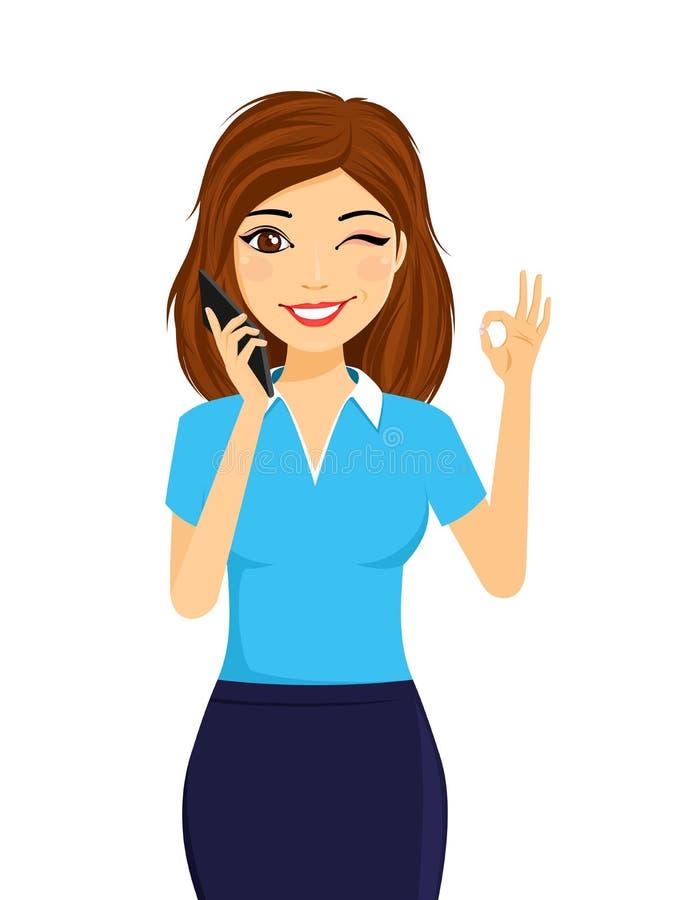 Portrait d'une jeune fille avec un téléphone portable La fille tient un téléphone portable dans sa main et clins d'oeil illustration de vecteur
