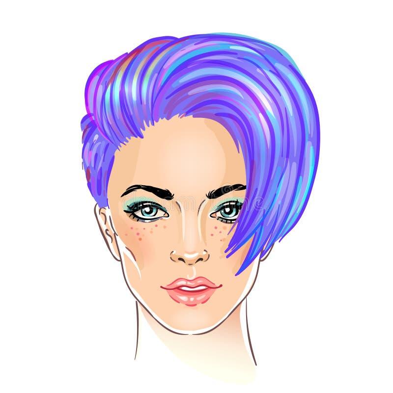 Portrait d'une jeune jolie femme avec la coupe courte de lutin Ha pourpre illustration stock