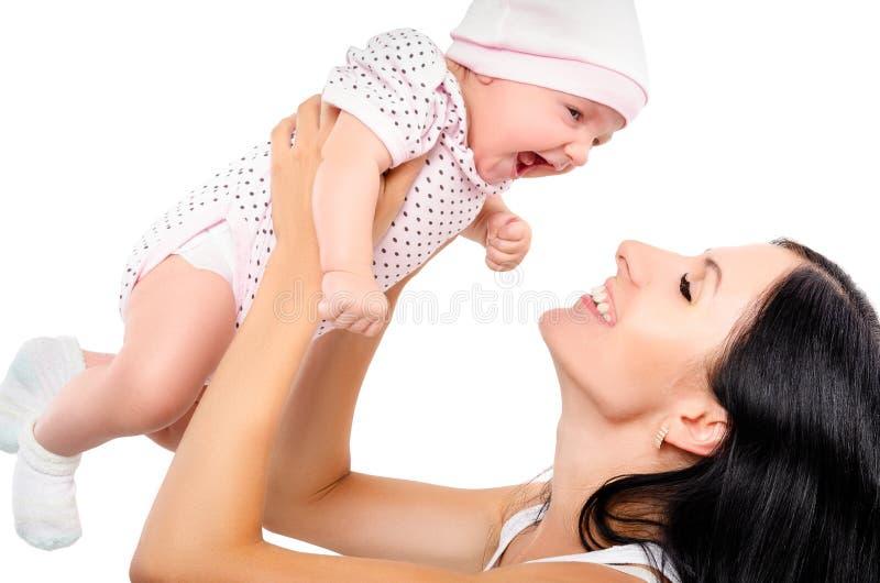 Portrait d'une mère et d'un bébé heureux photo libre de droits