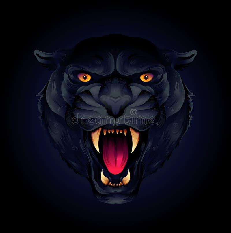 Portrait d'une panthère principale ou noire de tigre sur un fond noir illustration de vecteur