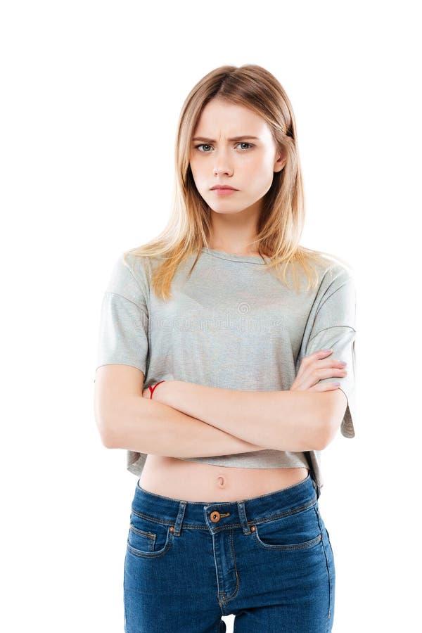 Portrait d'une position déçue fâchée de fille photographie stock libre de droits