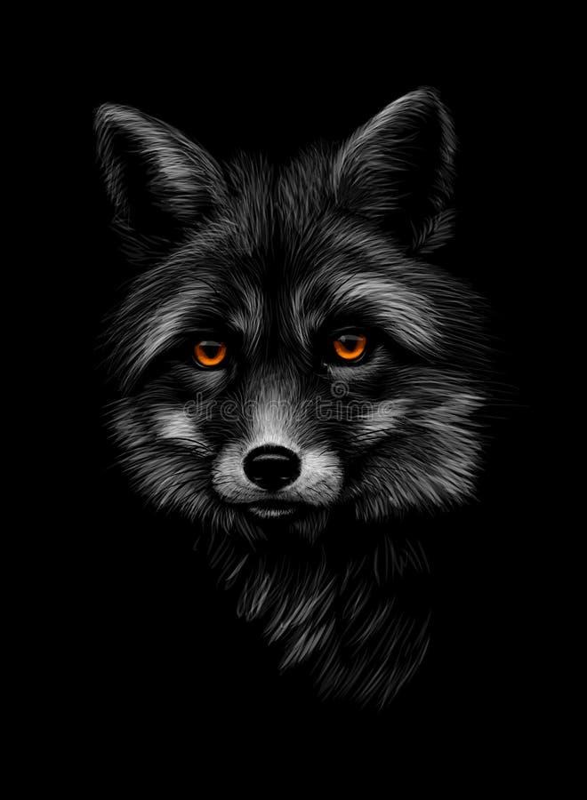 Portrait d'une tête de renard sur un fond noir illustration de vecteur
